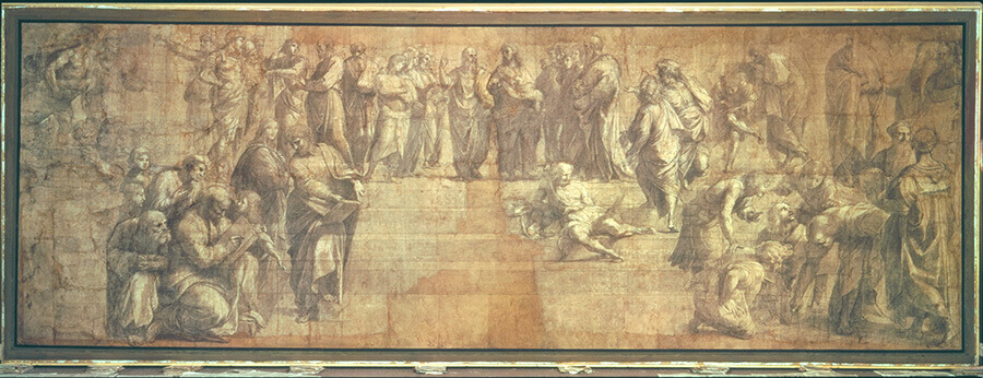 Raphael (Italian, 1483–1520), Cartoon for the School of Athens, ca. 1508, charcoal, graphite, black ink, and white heightening on paper, 312 x 108 inches. Biblioteca Ambrosiana, Milan